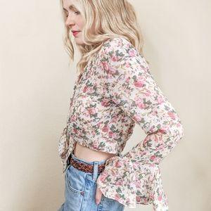 80s White Floral Crop Tie Top, Flounce Sleeves